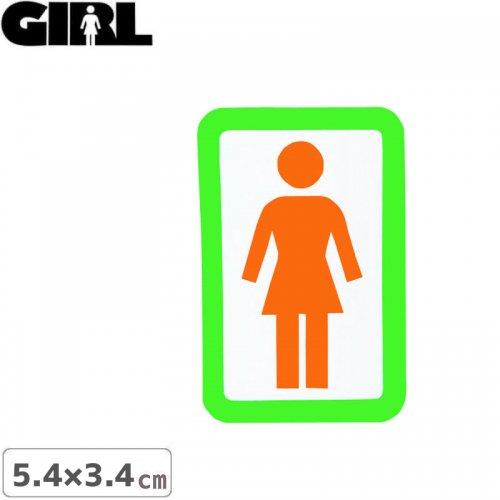 【GIRL ガールスケートボード STICKER ステッカー】BOX LOGO STICKER オレンジ×ホワイト 5.4cm x 3.4cm NO152