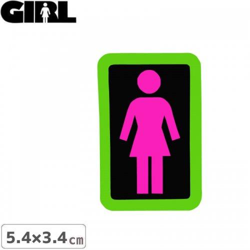 【GIRL ガールスケートボード STICKER ステッカー】BOX LOGO STICKER ピンク×ブラック 5.4cm x 3.4cm NO153