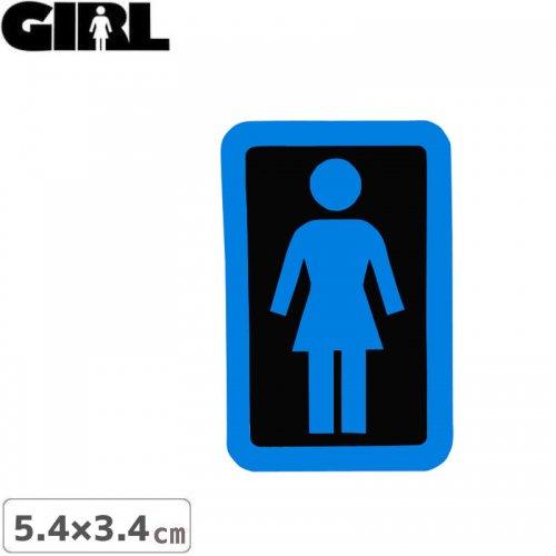 【GIRL ガールスケートボード STICKER ステッカー】BOX LOGO STICKER ブルー×ブラック 5.4cm x 3.4cm NO154