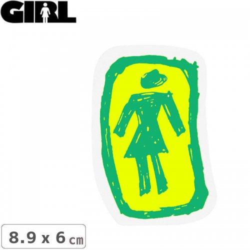 【GIRL ガールスケートボード STICKER ステッカー】LOGO STICKER グリーン×イエロー 8.9cm x 6cm NO155