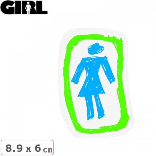 【GIRL ガールスケートボード STICKER ステッカー】LOGO STICKER ブルー×ホワイト 8.9cm x 6cm NO156