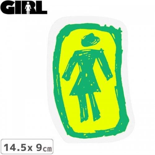 【GIRL ガールスケートボード STICKER ステッカー】LOGO STICKER グリーン×イエロー 14.5cm x 9cm NO157