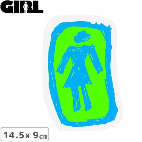 【GIRL ガールスケートボード STICKER ステッカー】LOGO STICKER ブルー×グリーン 14.5cm x 9cm NO158