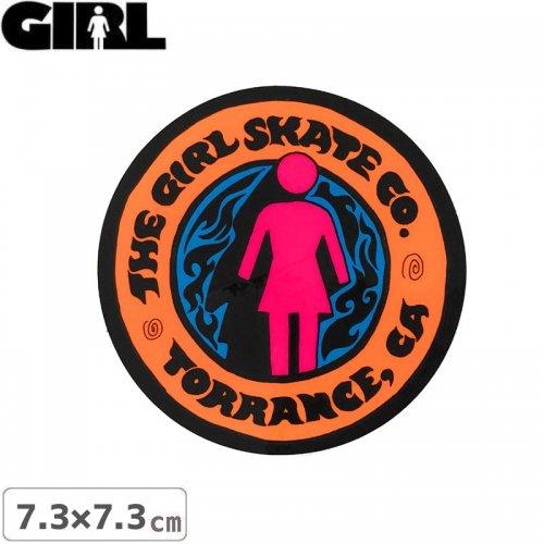 【GIRL ガールスケートボード STICKER ステッカー】LOGO STICKER オレンジ 7.3cm x 7.3cm NO159