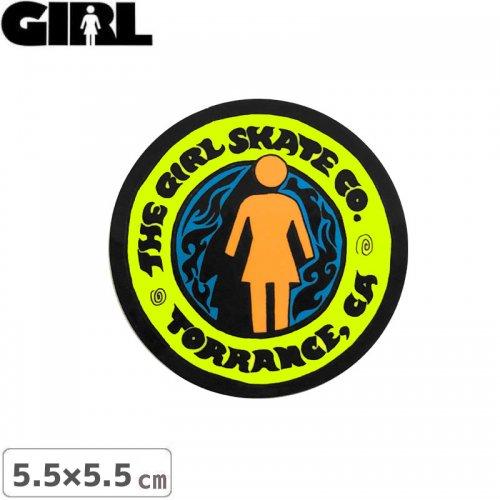 【GIRL ガールスケートボード STICKER ステッカー】LOGO STICKER イエロー 5.5cm x 5.5cm NO160