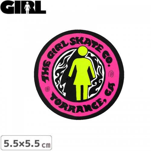 【GIRL ガールスケートボード STICKER ステッカー】LOGO STICKER ピンク 5.5cm x 5.5cm NO161