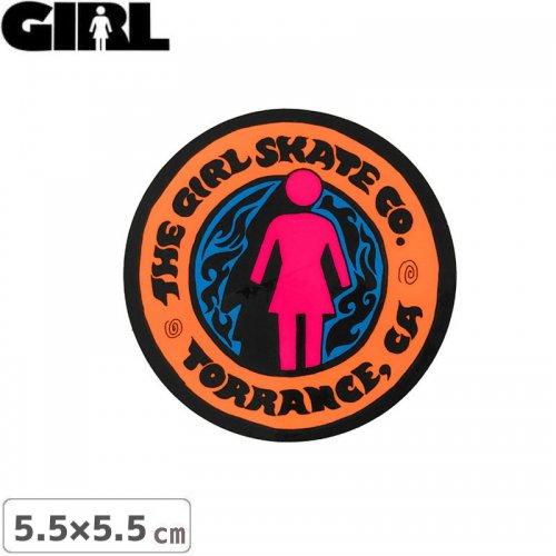 【GIRL ガールスケートボード STICKER ステッカー】LOGO STICKER オレンジ 5.5cm x 5.5cm NO162