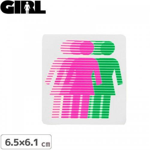 【GIRL ガールスケートボード STICKER ステッカー】LOGO STICKER ピンク×グリーン 6.5cm x 6.1cm NO163