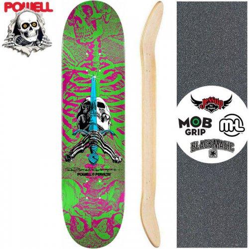 【パウエル POWELL スケートボード デッキ】SKULL AND SWORD PINK GREEN DECK【8インチ】NO101