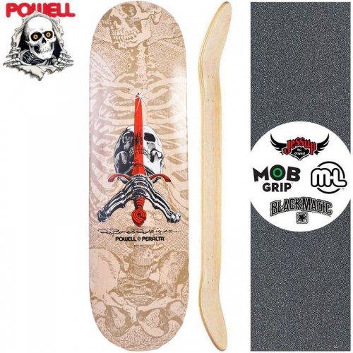 【パウエル POWELL スケートボード デッキ】SKULL AND SWORD WHITE GRAY DECK【9インチ】NO102