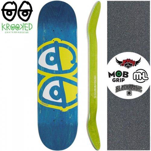 【クルックド KROOKED スケートボード デッキ】EYES YELLOW DECK【8.06インチ】ブルー NO141