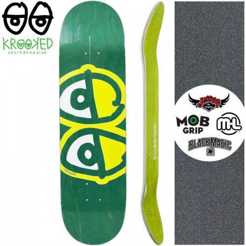 【クルックド KROOKED スケートボード デッキ】EYES YELLOW DECK【8.06インチ】ディープグリーン NO142