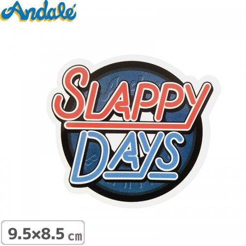 【アンデール ANDAL スケボー ステッカー】SLAPPY DAYS LOGO STICKER ブルー 9.5cm x 8.5cm NO9