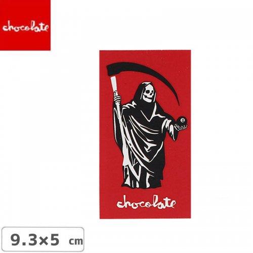 【CHOCOLATE チョコレートステッカー スケボー 】LOGO STICKER レッド 9.3cm x 5cm NO26