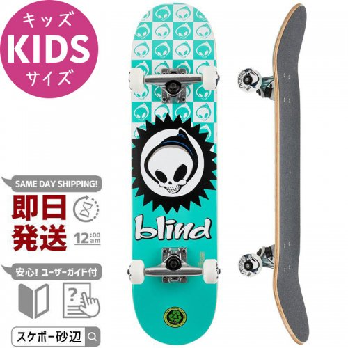 【BLIND キッズ スケボー コンプリート】CHECKERED REAPER TEAL SFT WHL COMPLETE 83A【7.375インチ】NO80