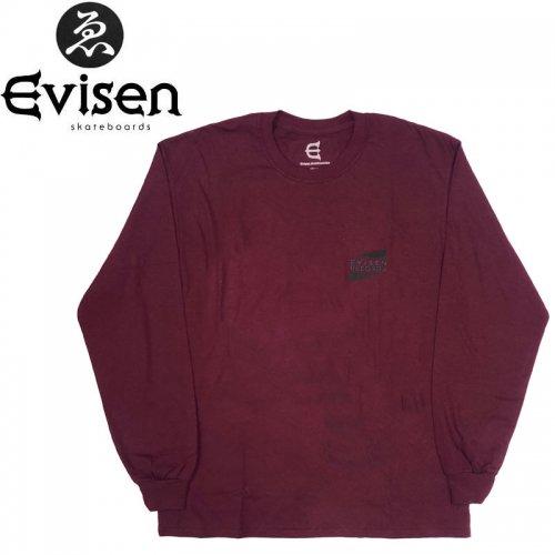 【EVISEN エビセン スケボー ロング Tシャツ】WYE2-WYE4 L/S TEE【マルーン】NO3