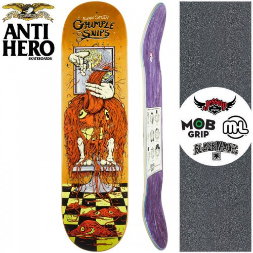 【ANTI HERO アンタイヒーロー スケートボード デッキ】GRIMPLE STIX SMITH GRIMPLE SNIPS DECK【8.25インチ】オレンジ NO164