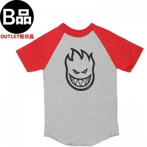 アウトレット【SPITFIRE キッズ Tシャツ】BIGHEAD RAGLAN YOUTH TEE ユースサイズ【グレーxレッド】