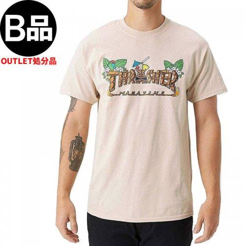 アウトレット【スラッシャー Tシャツ THRASHER スケボー】Thrasher Tiki T-Shirt 【サンド】