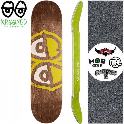 【クルックド KROOKED スケートボード デッキ】EYES YELLOW DECK【8.06インチ】ブラウン NO145
