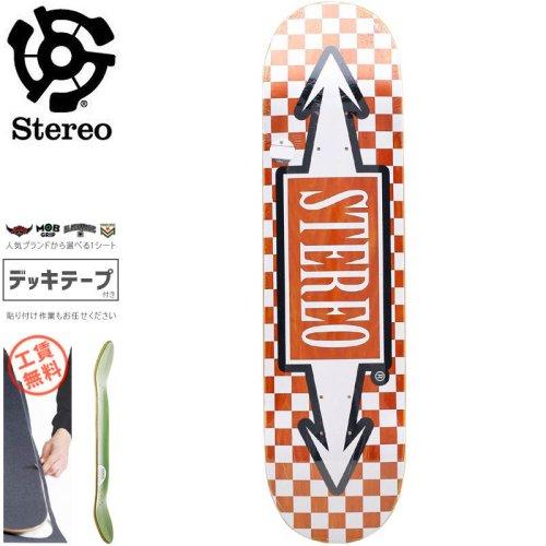 【STEREO ステレオ スケボー デッキ】CHECK ARROW DECK【8.0インチ】オレンジ NO76