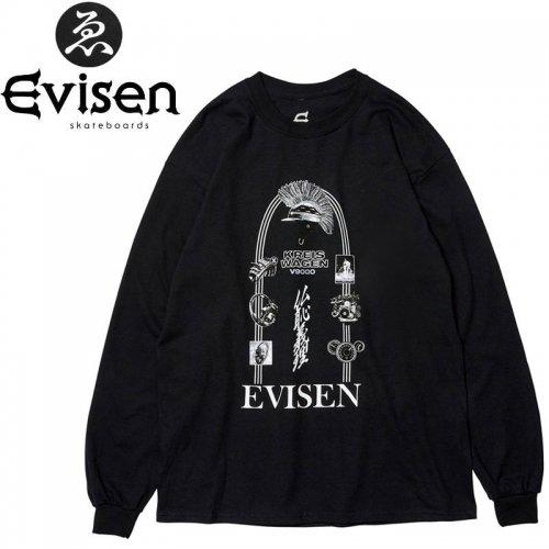 【EVISEN エビセン スケボー ロング Tシャツ】KREISWAGEN V9000 L/S TEE【ブラック】NO4