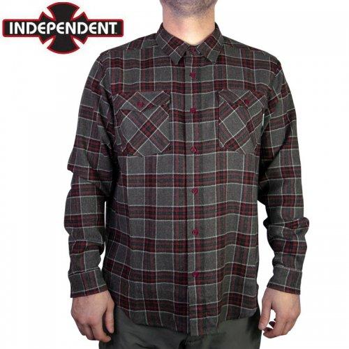 【インディペンデント INDEPENDENT フランネルシャツ】HATCHET L/S SHIRT グレー×バーガンディ×チャコール NO5