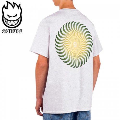 【SPITFIRE スピットファイア スケボー Tシャツ】CLASSIC SWIRL FADE TEE【アッシュヘザーグレー×グリーン×イエロー】NO278