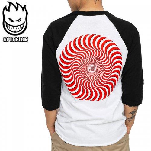 【SPITFIRE スピットファイア スケボー Tシャツ】CLASSIC SWIRL RAGLAN OVERLAY 3/4 SLEEVE TEE【ホワイト×ブラック】NO279