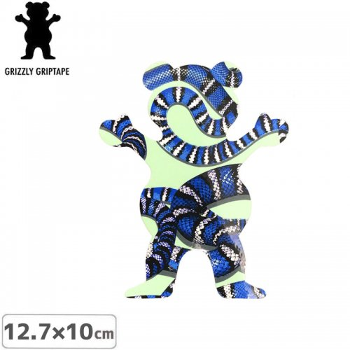 【グリズリー GRIZZLY ステッカー】BEAR STICKER グリーン×ブルー 12.7cm×10cm NO34