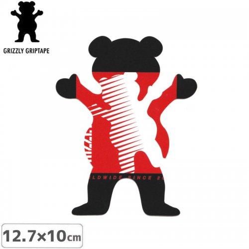 【グリズリー GRIZZLY ステッカー】BEAR STICKER ブラック×レッド 12.7cm×10cm NO35