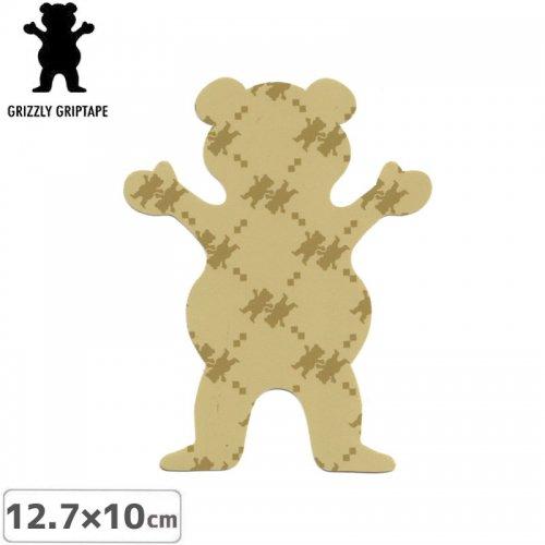 【グリズリー GRIZZLY ステッカー】BEAR STICKER ベージュ×カーキ 12.7cm×10cm NO36