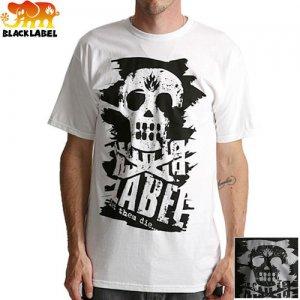 【BLACK LABEL ブラックレーベル スケボー Tシャツ】LTD SKULL SLASHED TEE【ブラック ホワイト】NO11