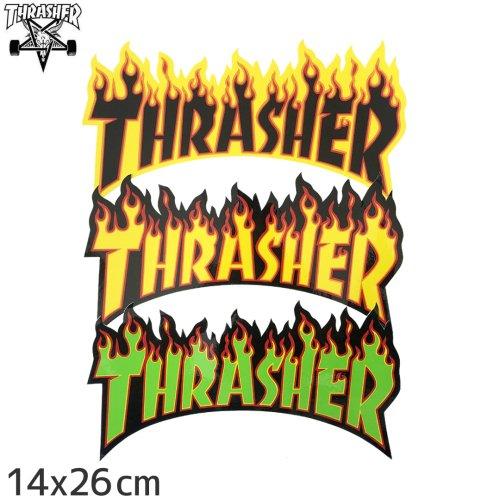 【スラッシャー THRASHER スケボー ステッカー】USAモデル FLAME LOGO【3色】【14cm x 26cm】NO07