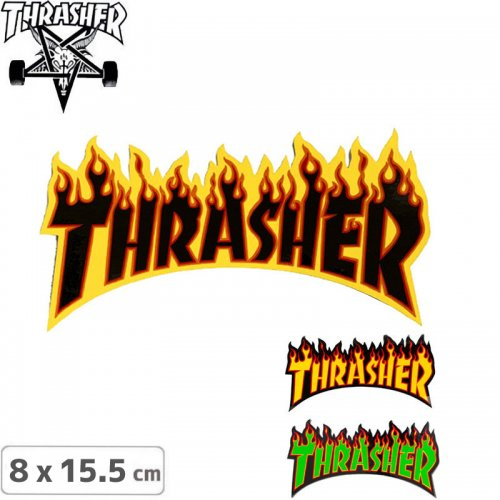 【スラッシャー THRASHER スケボー ステッカー】USモデル FLAME LOGO【3色】【8cm x 15.5cm】NO12