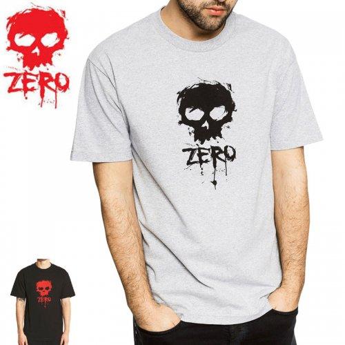 【ゼロ ZERO SKATEBOARDS Tシャツ】BLOOD SKULL TEE【グレーヘザー】【ブラック】NO23