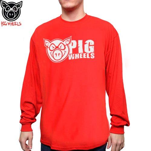 【ピッグ PIG WHEELS スケボー ロングTシャツ】GRUNGE LONG SLEEVE TEE【レッド】NO5
