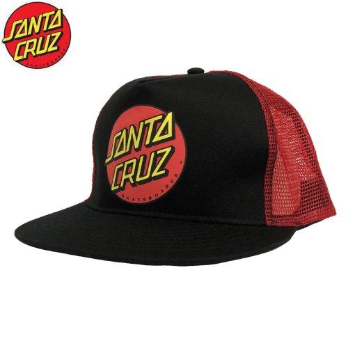 【サンタクルーズ SANTA CRUZ スケボー キャップ】CLASSIC DOT TRUCKER MESH【ブラック x レッド】NO4