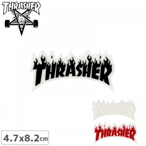 【スラッシャー THRASHER スケボー ステッカー】USA規格 FLAME【3色】【4.7cm x 8.2cm】NO49