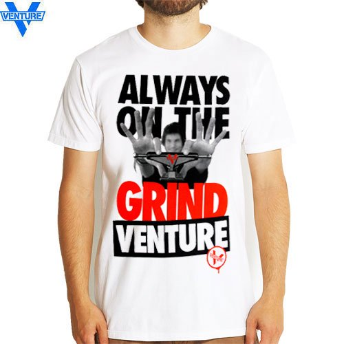 【ベンチャー VENTURE TRUCKS スケボー Tシャツ】ALWAYS ON THE GRIND TEE【ホワイト】NO16