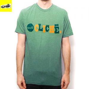 【クリシェ CLICHE スケートボード Tシャツ】WOODCUT TEE【ヘザー グリーン】NO6