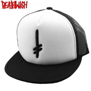【デスウィッシュ Death Wish スケボー キャップ】Gang Logo Trucker Hat【ブラック x ホワイト】NO06