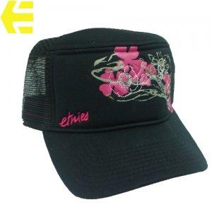 【ETNIES エトニーズ レディース スケボー キャップ】GIRLS SABRINA TRUCKER CAP【ブラック x ピンク】NO01