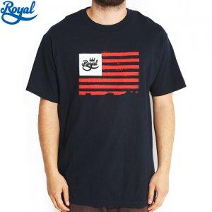 【ロイヤル ROYAL TRUCK スケボー Tシャツ】TOYAL FLAG TEE【ネイビー x レッド】NO22