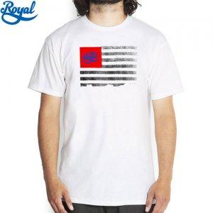 【ロイヤル ROYAL TRUCK スケボー Tシャツ】TOYAL FLAG TEE【ホワイト x レッド】NO23