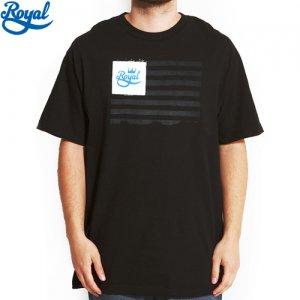【ロイヤル ROYAL TRUCK スケボー Tシャツ】TOYAL FLAG TEE【ブラック x ホワイト】NO24