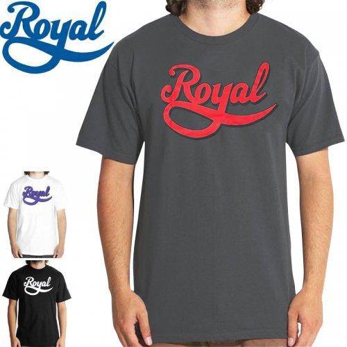 【ロイヤル ROYAL スケボー Tシャツ】NEW SCRIPT TEE【チャコール】【ホワイト】【ブラック】NO27