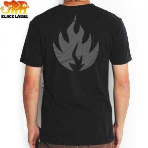 【BLACK LABEL ブラックレーベル Tシャツ スケボー】FLAME TEE【ブラック x グレー】NO48
