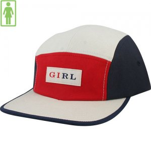【GIRL SKATEBOARD ガールスケートボード キャップ】Classic Tri-Tone 5Panel Hat【RED x CREAM x NAVY】NO59