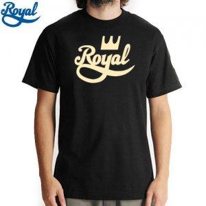 【ロイヤル ROYAL TRUCK  スケボー Tシャツ】CROWN SCRIPT TEE【ブラック x タン】NO49